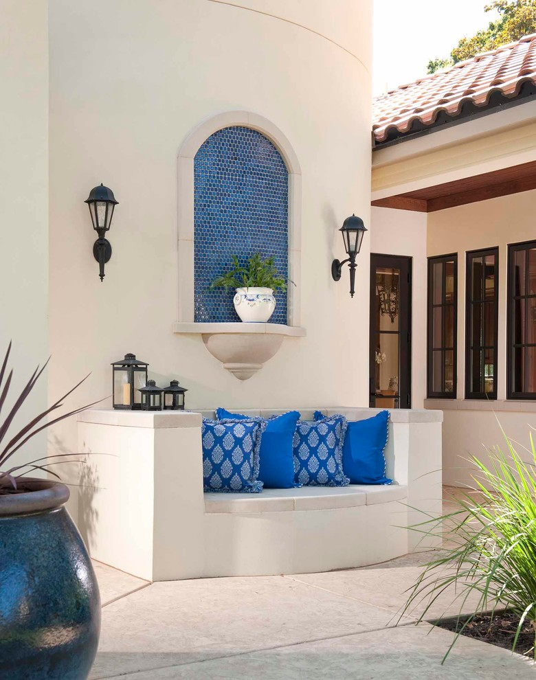 Pottery Barn Outdoor Cushions Patio Mediterranean with Black Window Trim Blue
