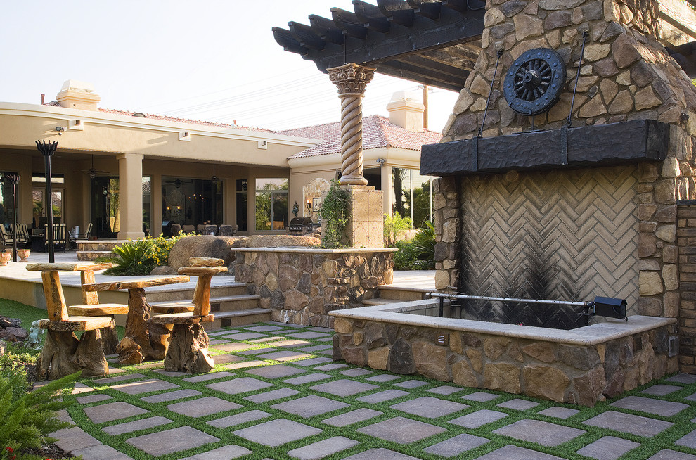 Pottery Barn Throw Patio Mediterranean with Field Stone Fieldstone Siding