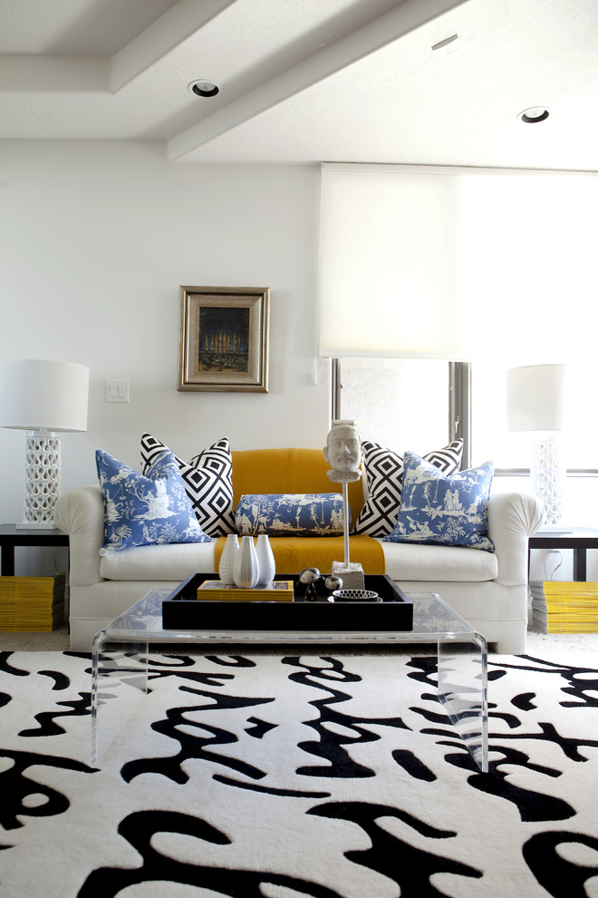 Purple Couch Pillows Living Room Modern with Black and White Blue