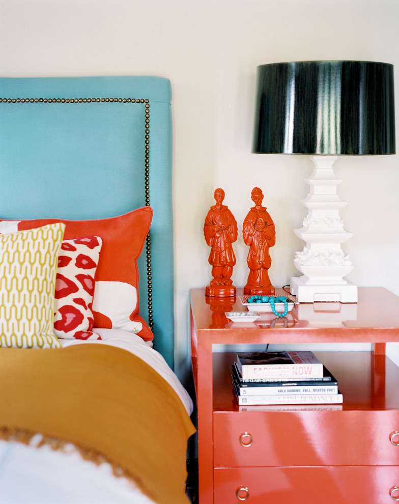 rust colored throw pillows Bedroom Eclectic with accent colors bedside table