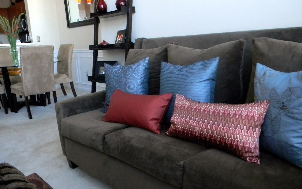 Silk Throw Pillow Living Room Traditional with Brown Sofa Open Floor
