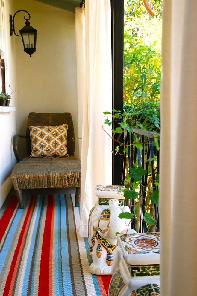 striped throw pillows Porch Eclectic with area rug bold colors