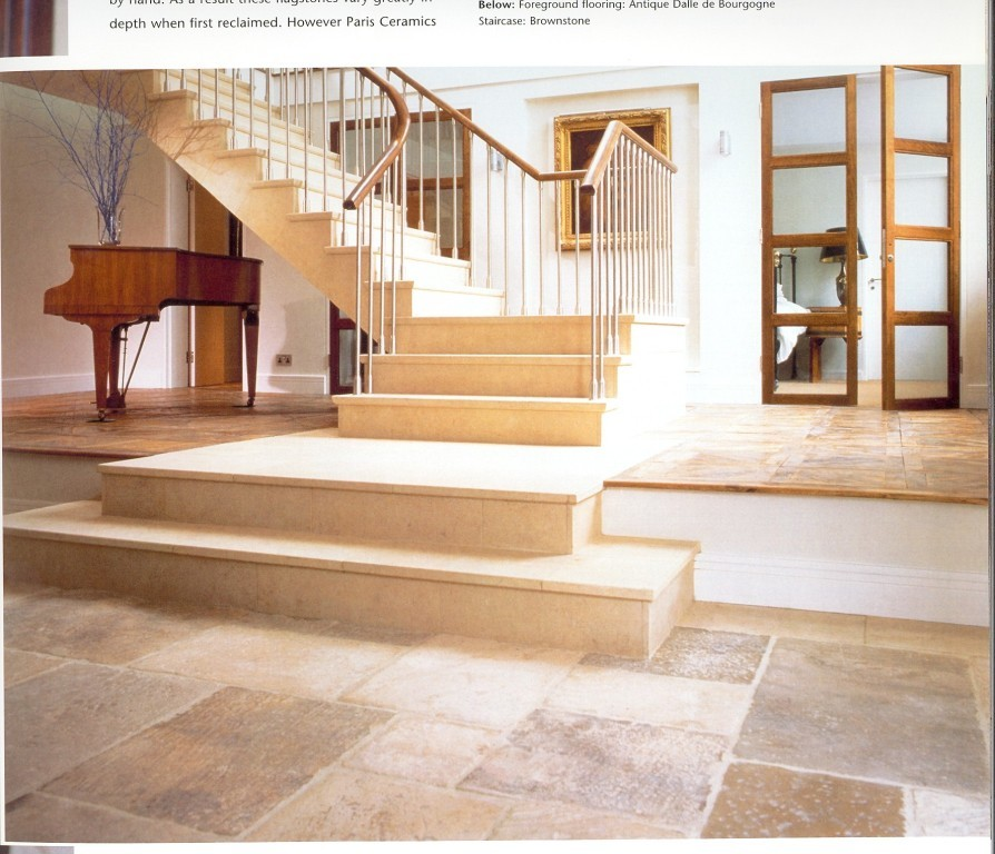 Temper Pedic Pillow Staircase Traditional with Antique French Limestone Patina