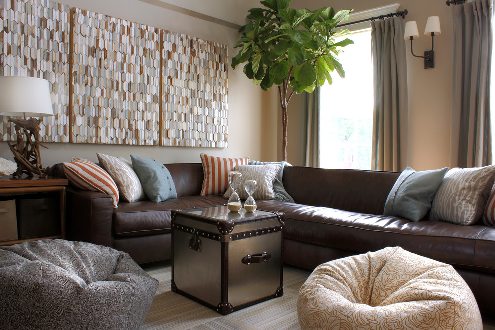 Throw Pillows for Brown Leather Couch Family Room Contemporary with a Rudin Beanbag Bronze