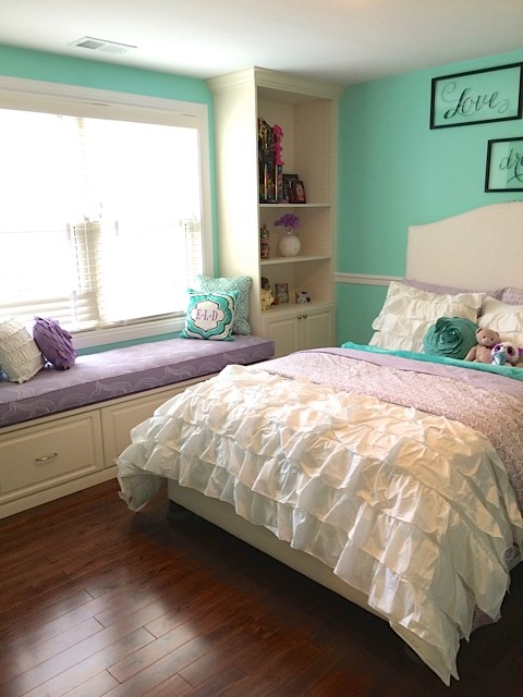 Throw Pillows Pottery Barn Bedroom Transitional with Aqua Built in Bookshelves Built In1