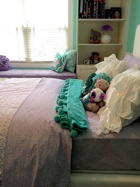 Throw Pillows Pottery Barn Bedroom Transitional with Aqua Built in Bookshelves Built In2