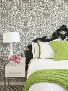 Toss Pillows Bedroom Contemporary with Carpet Tiles Green Headboard