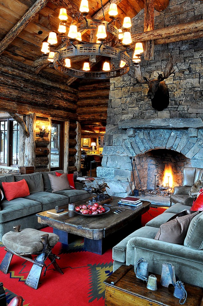 unique couch pillows Living Room Rustic with area rug chandelier Fireplace