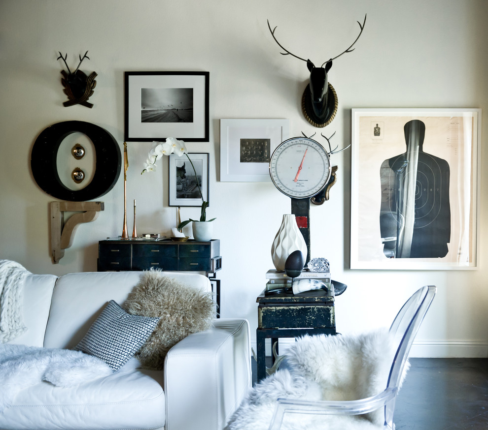 White Furry Pillows Living Room Eclectic with Animal Bust Console Table