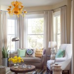 Bay Window Curtain Rod  Contemporary Family Room with Accent Tables