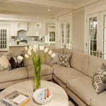 Benjamin Moore Gray Owl  Traditional Living Room with Beige Sectional