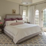 Benjamin Moore Gray Owl  Transitional Bedroom with Purple and White Pattern