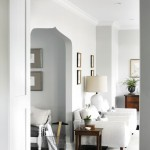 Benjamin Moore Gray Owl  Transitional Family Room with White Trim