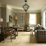Benjamin Moore Revere Pewter  Traditional Living Room with Pendant Lighting