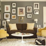 Benjamin Moore Revere Pewter  Transitional Home Office with Yellow Armchairs