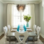 Benjamin Moore Stonington Gray  Beach Style Dining Room with Modern Chandelier