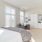 Benjamin Moore Stonington Gray  Transitional Bedroom with White