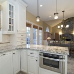 Bianco Antico Granite  Traditional Kitchen with Glass Front Cabinets