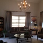 Bleeker Beige  Traditional Family Room with Hunter Douglas