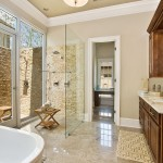 Bleeker Beige  Transitional Bathroom with Picture Windows