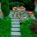 Bluestone Pavers  Contemporary Patio with Stone Bench