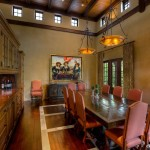 Clerestory Windows  Mediterranean Dining Room with Curtain Panels