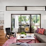 Clerestory Windows  Midcentury Living Room with Gold Sunburst