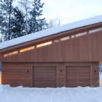 Clerestory Windows  Modern Garage with Dark Stained Wood