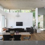 Clerestory Windows  Modern Living Room with Wood Dining Room Table