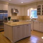 Colonial Cream Granite  Contemporary Kitchen with White Paint