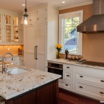Colonial Cream Granite  Traditional Kitchen with Taupe Wall