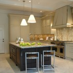 Colonial Cream Granite  Transitional Kitchen with Eat in Kitchen