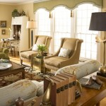 Cornice Valance  Traditional Living Room with Tan