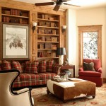 Cowhide Ottoman  Rustic Living Room with Books