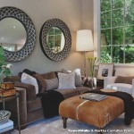 Cowhide Ottoman  Transitional Living Room with House Plants