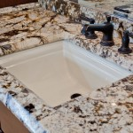 Delicatus Granite  Contemporary Bathroom with Cherry Bathroom Cabinets