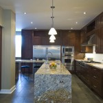 Delicatus Granite  Contemporary Kitchen with Pendant Lighting