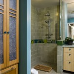 Doorless Shower  Contemporary Bathroom with Cabinets
