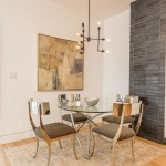 Edison Bulb Chandelier  Contemporary Dining Room with Chrome Dining Chairs