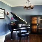 Edison Bulb Chandelier  Midcentury Family Room with Piano Room