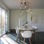 Edison Bulb Chandelier  Modern Dining Room with White Dining Area