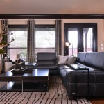 Feizy Rugs  Contemporary Living Room with Taupe and Black Rug