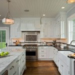 Herringbone Backsplash  Farmhouse Kitchen with Saratoga Springs