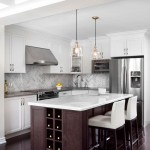 Herringbone Backsplash  Traditional Kitchen with Dark Island