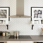 Herringbone Backsplash  Traditional Kitchen with Kitchen Storage