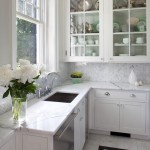 Herringbone Backsplash  Traditional Kitchen with White Kitchen