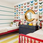 Jenny Lind Bed  Contemporary Kids with Butterfly Wallpaper