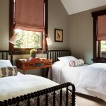 Jenny Lind Bed  Traditional Bedroom with Wallpaper