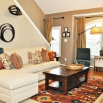 Kilim Beige  Traditional Living Room with Beige Curtain