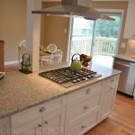 Luna Pearl Granite  Transitional Kitchen with L Shaped